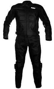 Combinaison de pour moto en cuir divisible en deux 2 piéces avec protections