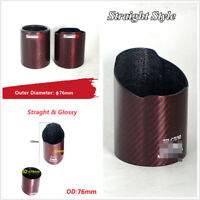 1 Pcs 76mm/3'' OD Carbon Fiber Car Exhaust Tip Pipe Cover Case Shell with Logo
