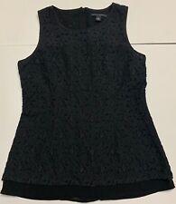 Banana Republic Size 4 Eyelet Top Black Full Zip Back Cotton Nylon Sleeveless