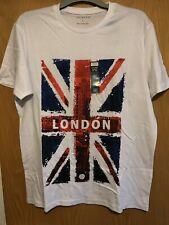 Union Jack Flag London t-shirt Size Medium M white PrimarkNEW Gift