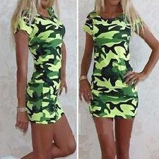 Camouflage Womens Bodycon Short Sleeve Mini Dresses Casual Summer Beach Sundress