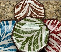 "Raymond Waites Certified International Safari Zebra 9"" Salad Plates Set of 4"