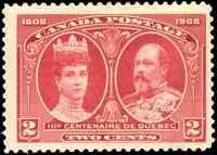 Canada #98 mint F-VF OG LH 1897 Quebec 2c carmine KEVII & Queen Alexandra