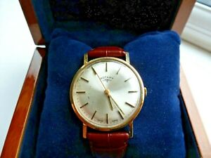 9ct Solid Gold ROTARY  Men's Mechanical Wristwatch in box