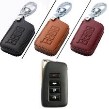 Genuine Leather 4 Button Remote Key Bag Case Fob Holder Chain For Lexus Series C