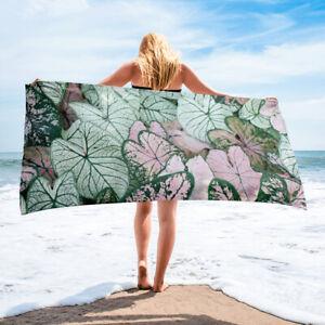 Syngonium Plant Arrow Head Plant Themed Bath or Beach Towel Pink and Green