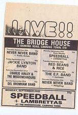 SPEEDBALL / LAMBRETTAS BRIDGE HOUSE press clipping 1979 approx 12x9cm (22/9/79)
