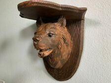 Black Forest Antique Bear Shelf, Folk Art Bear Carving, Swiss Carving