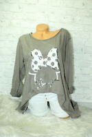Italy Shirt Pulli Mickey Mouse Gr.36 38 40 42 Shirt Oversized Long Puder taupe