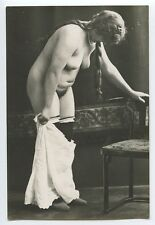 Fat woman Strip German Austrian FULL Nude original c1920s Gelatin Silver photo