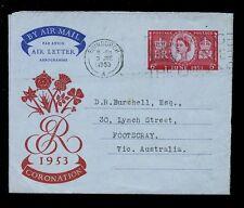 GB 1953 CORONATION AEROGRAMME 3rd JUNE to FOOTSCRAY AUSTRALIA...SLOGAN CANCEL