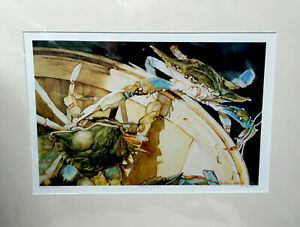 Limited Edition Print By Artist Elaine Hahn. Blue claw crabs in a basket
