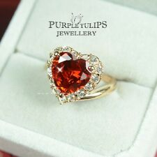 18CT Rose Gold Plated Ballerina Ruby Heart Ring Made With SWAROVSKI Crystals