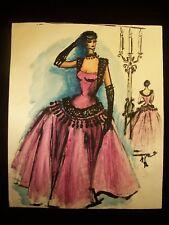 Vibrant Party 1946-59 Original Watercolor Sketch by C. Kelm