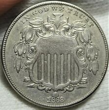 DDO 1868 Shield Nickel Almost Uncirculated Doubled Die Obverse FS-101 5c Coin