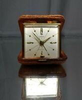 WORKING! Semca 7 Jewels Leather Travel Alarm Clock Mechanical Windup Vintage MCM