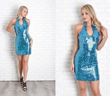 Vintage 90s Teal Sequin Dress Party Glam Cocktail Plunging XS