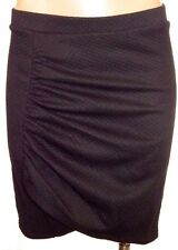 New H&M S, small Black check textured faux wrap gathered side pencil skirt