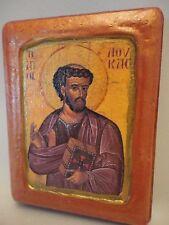 Saint Luke the Apostle Greek Orthodox Byzantine Rose Gold Christian Icon on Wood