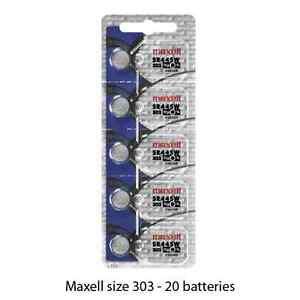 Maxell Hologram SR44SW 303 Silver Oxide Watch Batteries (20 batteries)