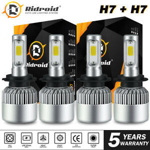 For VW Jetta Passat Golf H7+H7 LED Headlight Bulb Kit High Low Beam 600W 60000LM