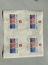 1936, Pro Patria-Blockbogen, 4 ungetrennte Blocks, gestempelt Vgl. Fotos