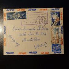 AVIATION LETTRE COVER ANNIVERSAIRE TRAVERSÉE ATLANTIQUE MERMOZ -> URUGUAY 1955