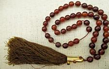 Rare Brown Cherry Bakelite Prayer Bead Necklace 85.2g Vg Antique Estate Jewelry