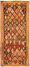 "Hand woven Turkish Kilim 4'6"" x 11'11"" Yoruk Flat Weave Rug"