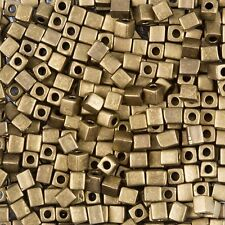 Miyuki Metallic Bronze 4mm Square (Cube) Glass Seed Beads 20g Tube (B87/3)