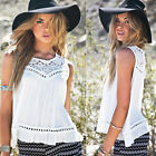 Sexy Womens Summer Blouse Lace Chiffon Vest Tops Sleeveless White Blouses Shirts