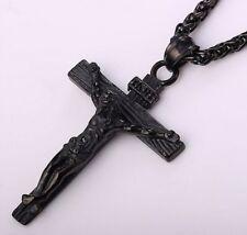 Jesus Kreuz Halskette Anhänger Zopf Kette Edelstahl Black Gun Herren Geschenk