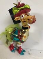 "Robert Stanley Ugly Giraffe Party Dress Blown Glass Christmas Ornament -New 6"""