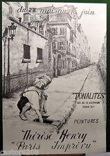 AFFICHE ANCIENNE N&B Tonalités Peintures de Thérèse Henry Bd St Germain 37x54cm