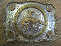 vintage 1980 Bucking Bronco trophy rodeo buckle western championship