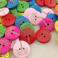 100pcs 20mm Mix Print Tree Wood Buttons Sewing Crafts Accessories WB191