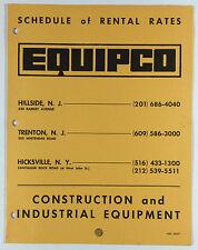 Equipco Construction Industrial Equipment Rental Rates Brochure New Jersey 1972