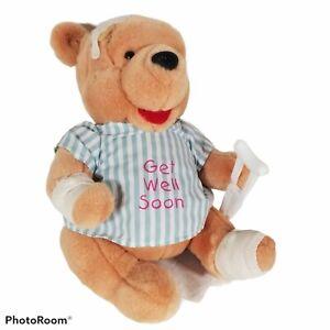 "Disney ""GET WELL SOON"" Winnie TheE Pooh Plush Bandage/Crutch/Hospital Gown 12"""
