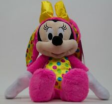 "Disney 18"" Hot Pink Minnie Mouse Dressed as Easter Bunny Stuffed Plush NWT"
