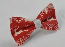 Boy Kids Xmas Christmas Elk Deer Red and Silve Cotton Bow tie Fits 1-6 Years Old
