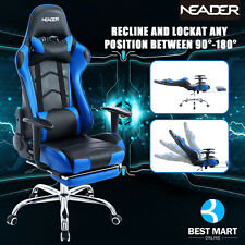 Neader Office Executive Chair Racing Gaming Ergonomic High Back W/ Footrest BLUE