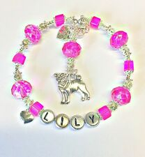 PERSONALISED PUG DOG LOVER SILVER HEART CHARM BRACELET BIRTHDAY MOTHERS DAY GIFT