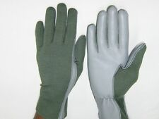 PILOT GLOVES Leather NOMEX AIRFORCE Fire Resist TAN OLIVE Black White XS to XXL