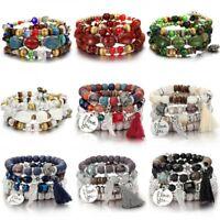 Fashion Boho Ethnic Nature Turquoise Tassels Women Men Bracelet Bangle Jewelry