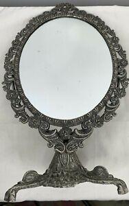 Vintage Victorian Vanity Mirror Oval Swing Makeup Pedestal Ornate