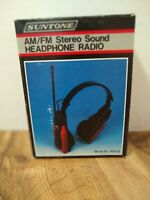 Vintage Suntone AM/FM Stereo Headphone Radio w/ Rubber Antenna New  BLACK/SILVER