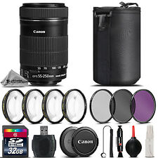 Canon EF-S 55-250mm f/4-5.6 IS STM Lens + 4PC Macro Kit + UV-CPL-FLD Filter Kit