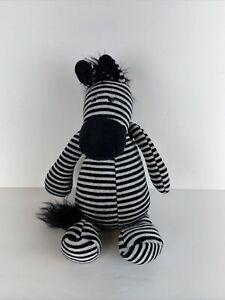 "JellyCat 11"" Zebra Plush Stuffed Animal Black White Beanie"