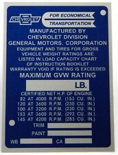 NEW REPRODUCTION DATA TAG / IDENTIFICATION PLATE FOR 1964 - 1965 CHEVY TRUCK
