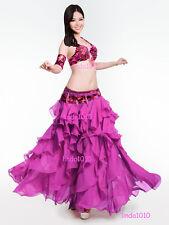 Performing Belly Dance Costume 4 Pics Bra&Belt&Skirt&Armbands 34B/C 36B/C 38B/C